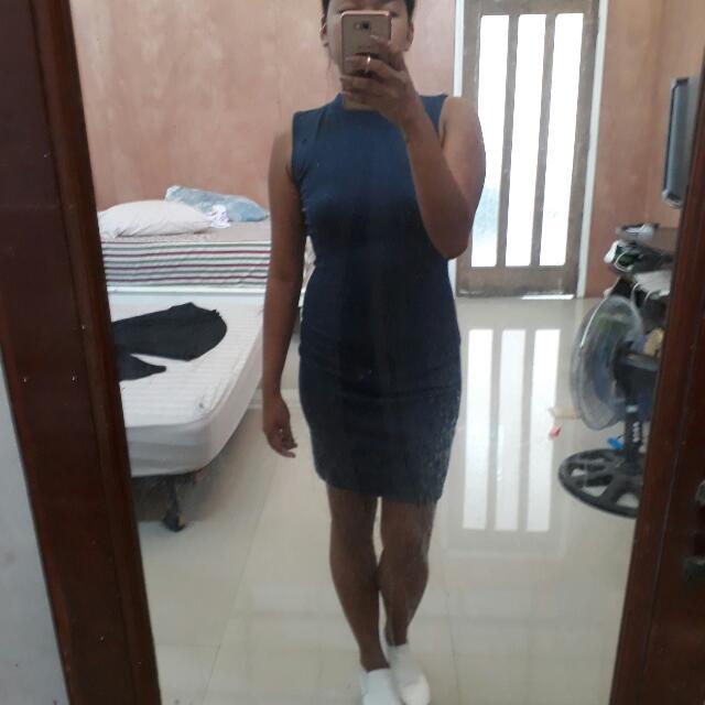 Blue Backless Bodycon Dress