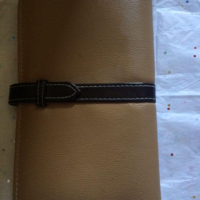 Brown & Black Leather Long Wallet