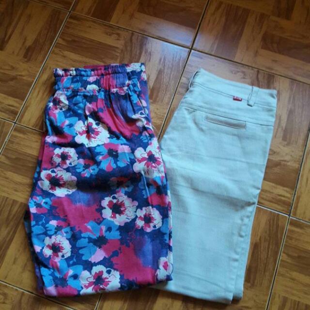 Celana Flower Dan Celana Polos Putih Tulang