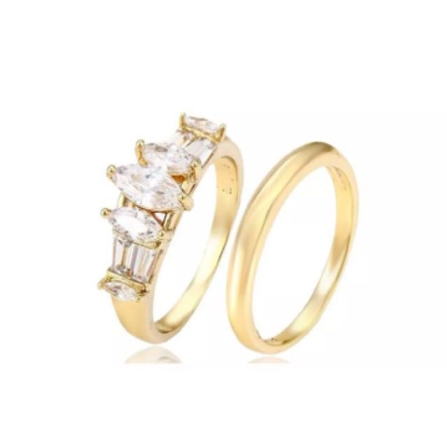 Double Band Gold Plated Ring with Cubic Zirconia Stones
