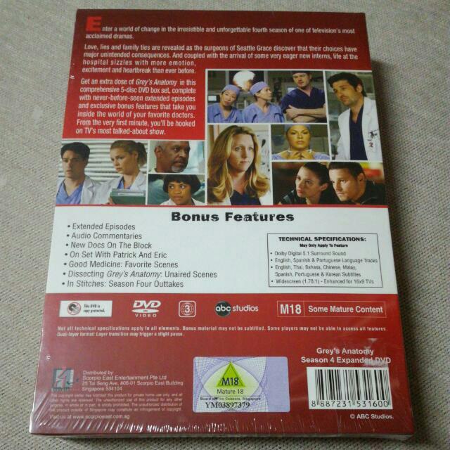 DVD Grey\'s Anatomy S4 Box Set, Muzik & Media, CD, DVD, dan Media ...