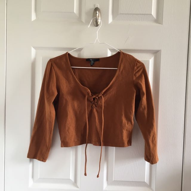 F21 Cropped Top, Lace-up Front