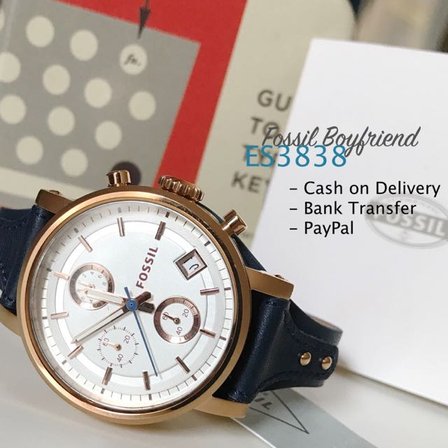 Fossil ES3838 Original Boyfriend Chronograph In Rose Gild And Blue Leather