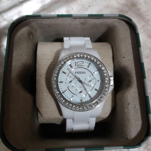 Fossil Watch. White Cubic Zirconia Frame