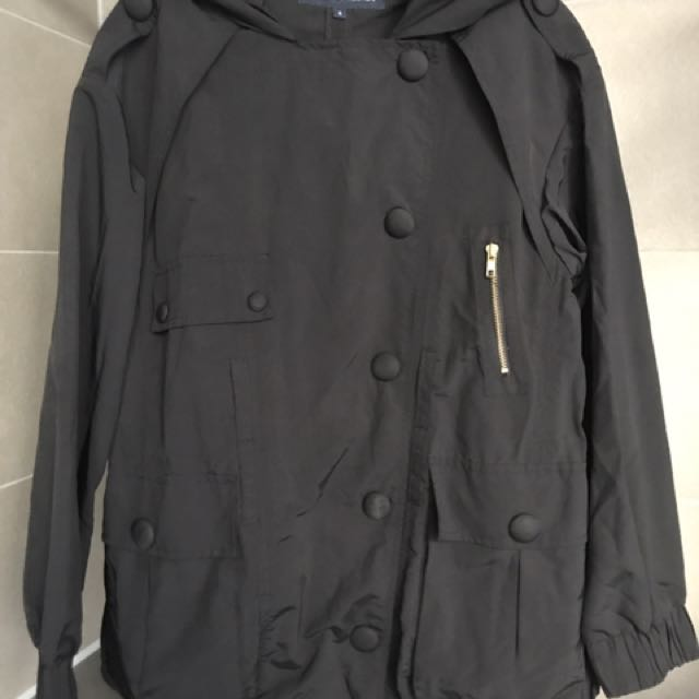 French Connection Black Raincoat