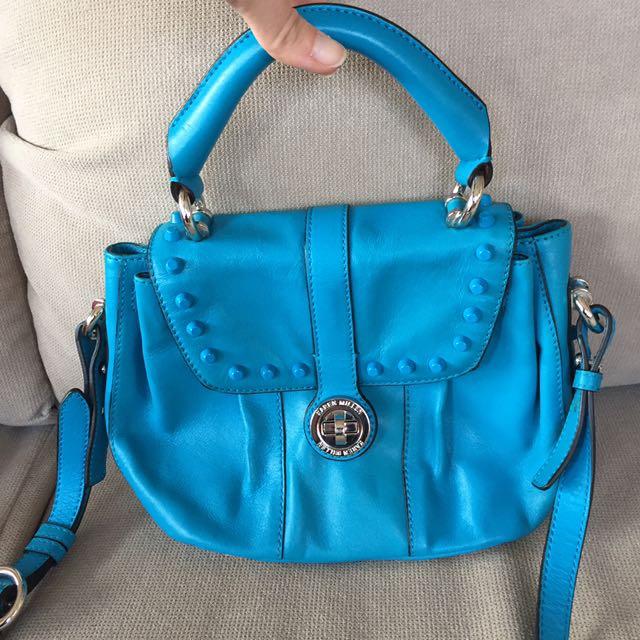 Genuine Karen Millen Satchel Crossbody Bag Leather Aqua