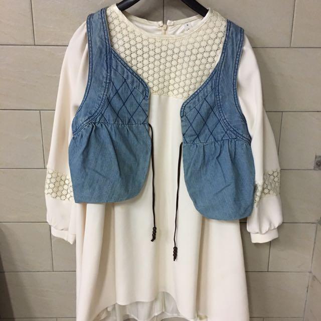 Jeanasis 日系氣質牛仔 短版罩衫