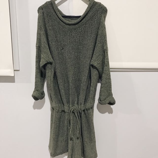 Khaki Green Off Shoulder Playsuit