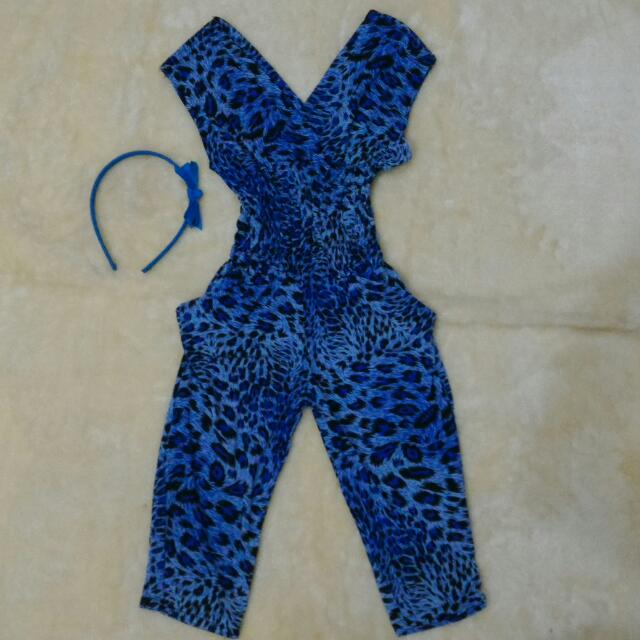 animal print V neck jumpsuit