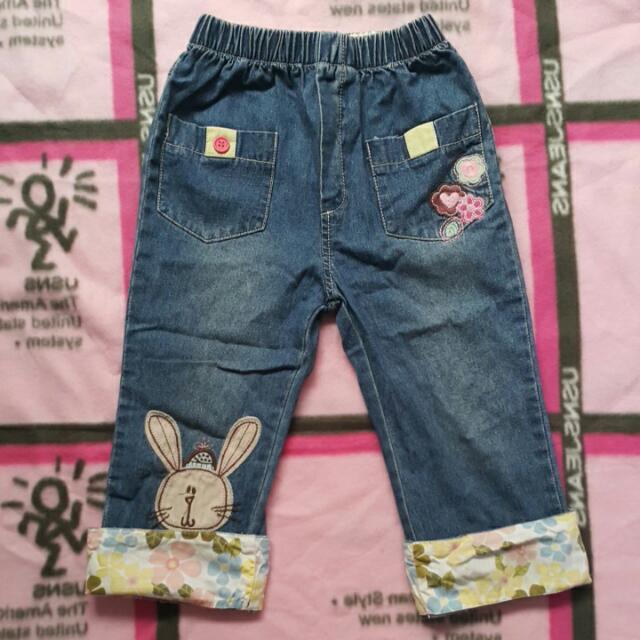 二手外貿mini pink兔子花朵造型反摺藍色牛仔褲