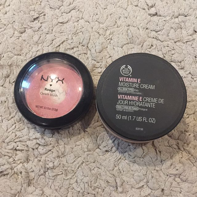 NYX (rouge vream blush) and THE BODY SHOP (moisture cream)