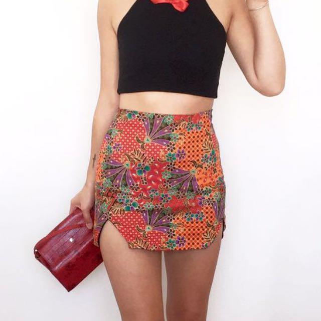 Omighty Oriental Slit Mini Skirt