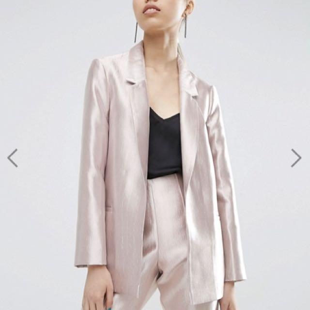 ASOS WHITE Pale Pink Metallic Structured Blazer