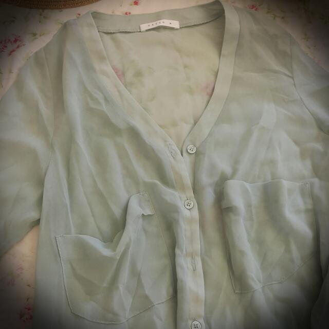 pazzo長版湖水綠雪紡罩衫