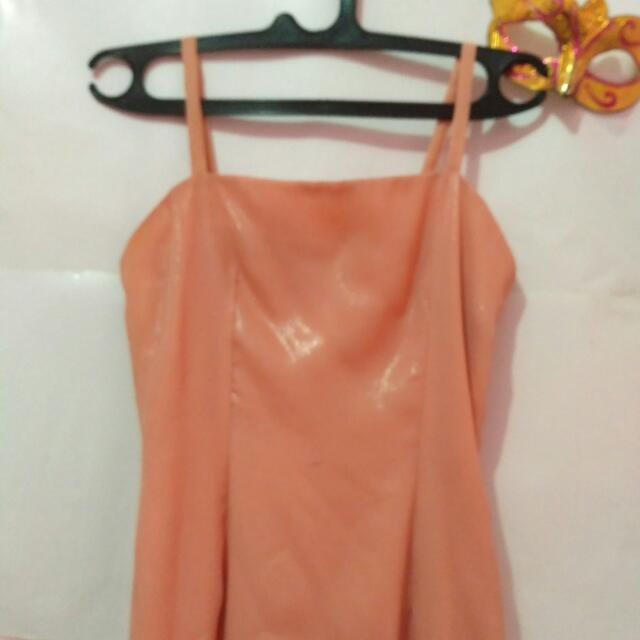 PEACH DRESS BORDIR