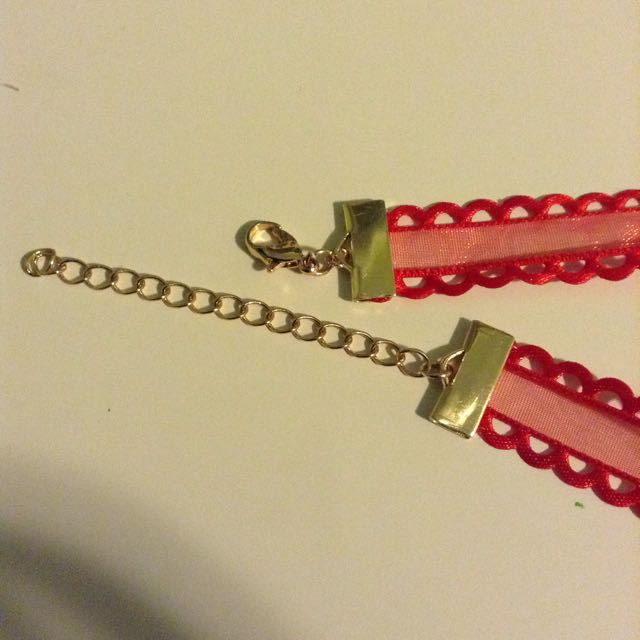 Red Lace Choker With Golden Clasp