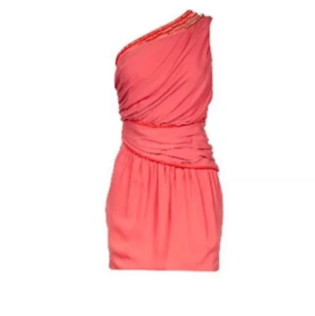 Sass And Bide Coral 'Beaded Lines' Dress RRP $620