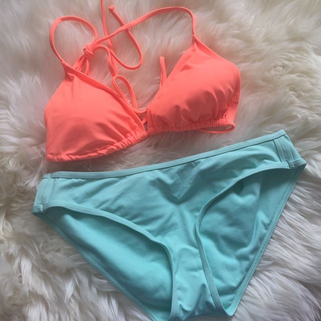 Two Piece Neon Orange And Teal Swimsuit