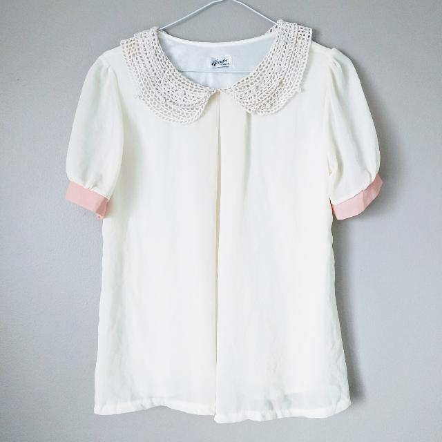 Vintage Lace Pearl Collar Blouse