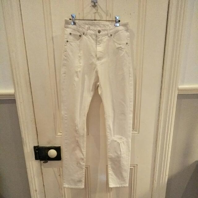 White Cheap Monday Distressed Mom Jeans