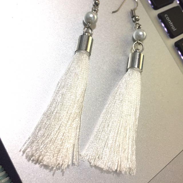 White Tassel Earring