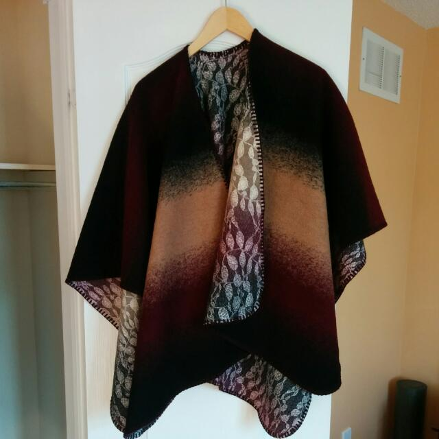 Wool Anthropologie Reversible poncho