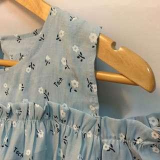 碎花水藍假兩件式長上衣