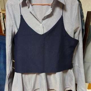 兩件式寬袖襯衫