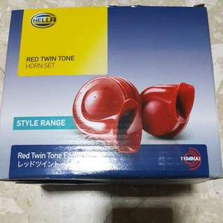 Hella Twin Tone Red Snail Horn Set with Relay