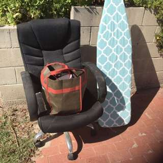 Ironing Board, Office Chair And Bag Of Plates And Misc