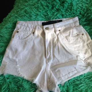 White High Waited Distressed Shorts