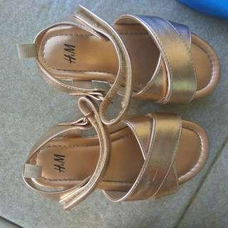 H&M Gold Sandals Preloved Asli