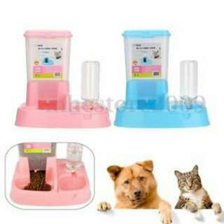 2 in1 Pet Cat Dog Automatic Water Drinker Dispenser Food Feeder