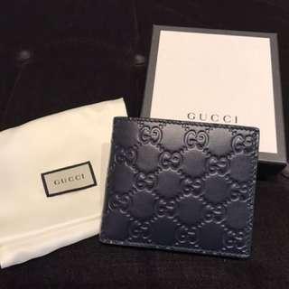 Gucci全新 深藍 皮夾 義大利製