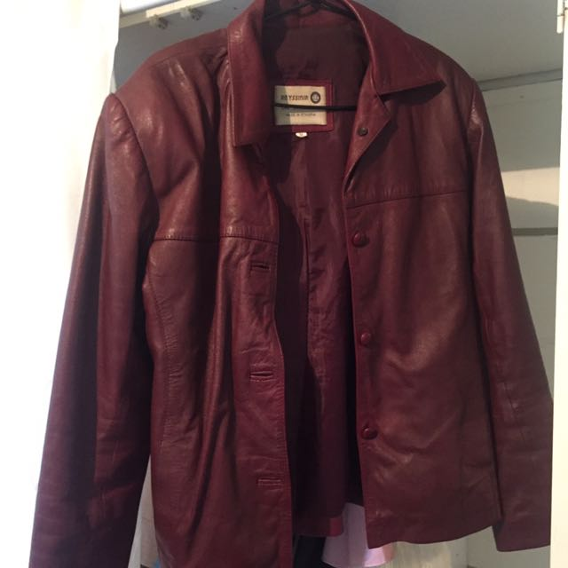 100% Leather Jacket Burgundy