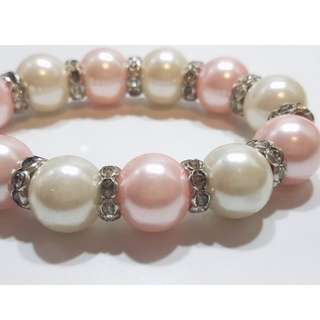 【優雅女神系列】米色 & 粉色珍珠手鏈