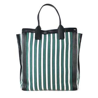 CHLOÉ STRIPED CANVAS AND LEATHER TOTE