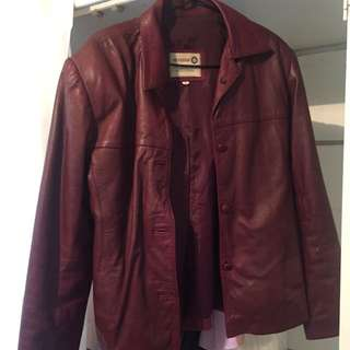 100% Leather Jacket Burgundy