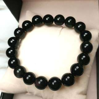 天然開光黑曜石水晶手鏈(避邪、鎮宅、防小人) Natural Obsidian Crystal Bracelet (Can be used to Avoid evil,Town house,Anti-villain)