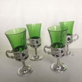 Vintage Emerald Green Glass Shot glasses