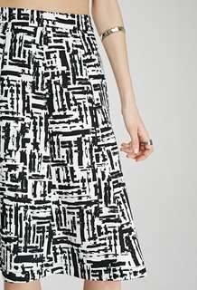 Forever 21 Abstract Print A-Line Skirt