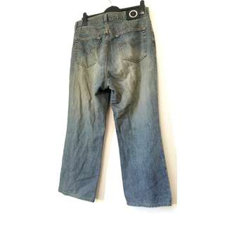 VERSACE SPORT mens wide leg relaxed fit distressed blue jeans  size 36  (for a shorter man)