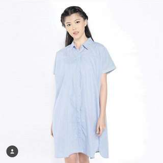 Preloved Cotton Ink Shirt Dress ( Debra in Striped Blue)