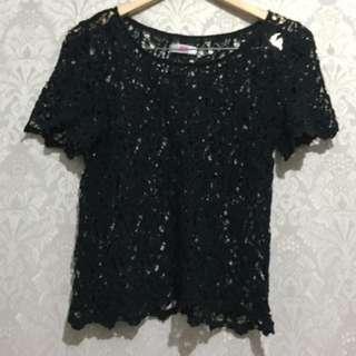 Knit Brokat Top - Atasan Blouse Rajut Hitam Black