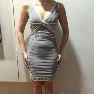 Gray Dress With White