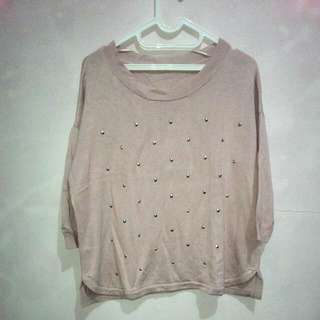 Uniqlo Smoky Pink Studs Sweater