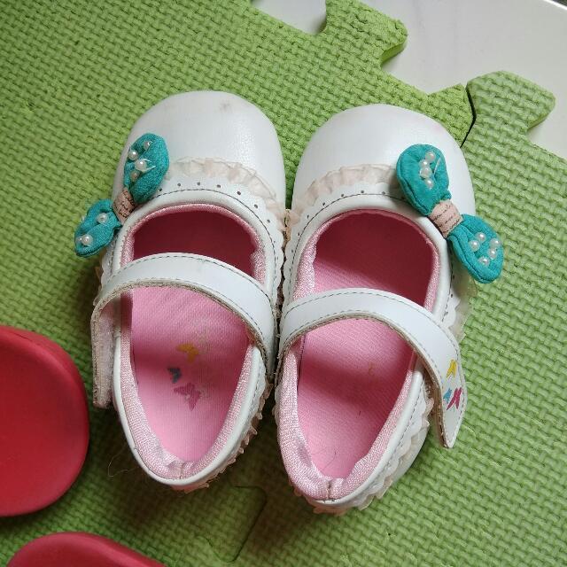 白色綠蝴蝶結幼兒鞋,二手14.5