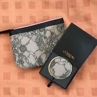 Brand New Loreal Pouch With Matching Mirror
