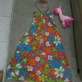 Cute Flower Halter Neck Dress