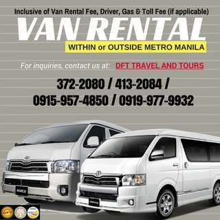 Van Rental (Within or Outside Metro Manila)